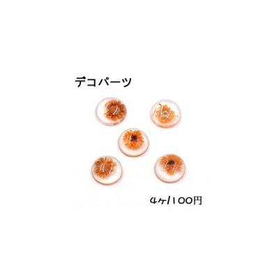 デコパーツ 樹脂パーツ 半円 15mm ドライフラワー付き【4ヶ】クリア×オレンジ