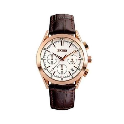 海外限定 MASTOPMens Wrist Watch Leather Analog Rose Gold Case Quartz Watch Waterproof Date Classic Business Wrist Watches (White)