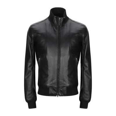 HAVANA & CO. ブルゾン ブラック 60 革 100% / 紡績繊維 ブルゾン
