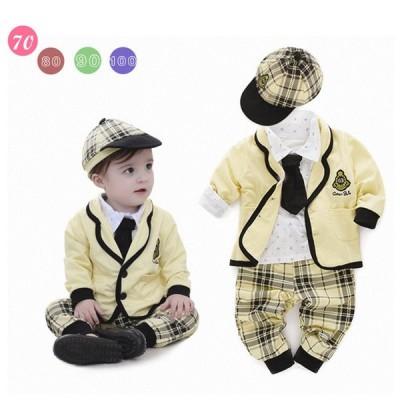 セール 男の子 ベビー 赤ちゃん 新生児 /ジャケット/ズボン/Tシャツ/帽子/ スーツセット フォーマル スーツ 長袖 ストライプ
