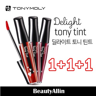 Tonymoly [ トニーモリー ] - [ ★ 1+1+1 ★ ]  デライトトニーティント3色 / Delight Tony Tint #1 Cherry Pink