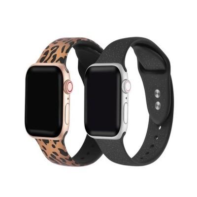ポッシュ テック 腕時計 アクセサリー メンズ Men's and Women's Rose Gold Tone Cheetah and Black Glitter 2 Piece Silicone Band for Apple Watch 42mm Multi