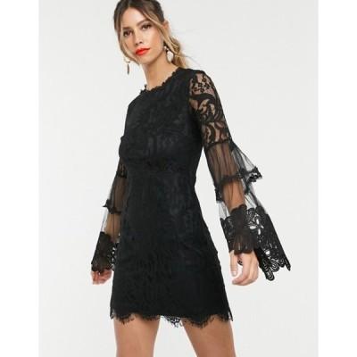 フォーエバー ユー レディース ワンピース トップス Forever U lace mini dress with bell sleeves in black