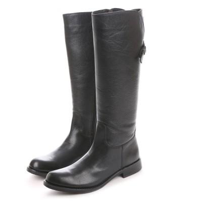 キスコ KISCO 【牛革シュリンク】ファスナー式バックベルトデザインロングブーツ (ブラック)