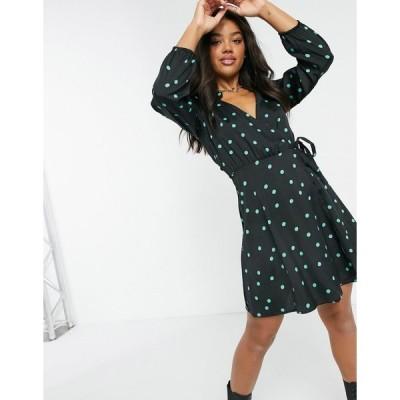 ニュールック ミニドレス レディース New Look wrap mini dress in spot pattern エイソス ASOS ブラック 黒