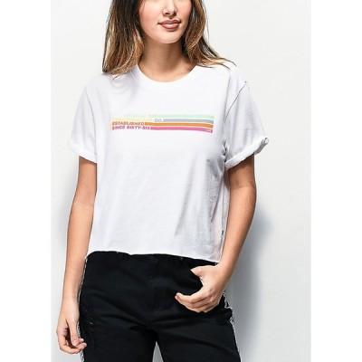 ヴァンズ VANS レディース ベアトップ・チューブトップ・クロップド トップス Vans Striped Roll Out White Crop T-Shirt White