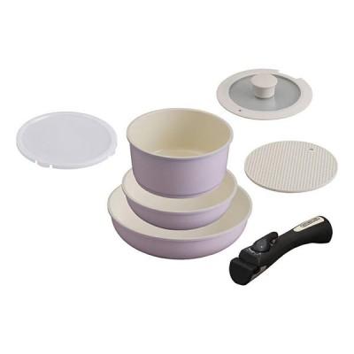 アイリスオーヤマ CC-SE6N ピンク [セラミックカラーパン 6点セット シリコンなべ敷き付 IH対応] 調理器具