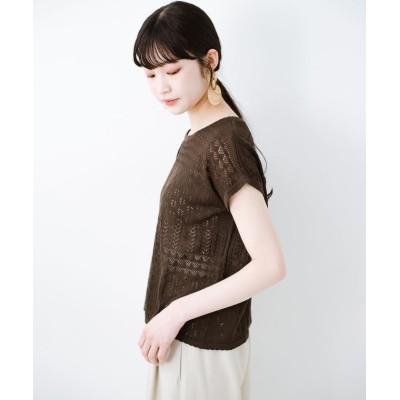【ハコ】 1枚でも重ね着にも便利なヘビロテしたくなる透かし編みニットトップス レディース チョコ LL haco!
