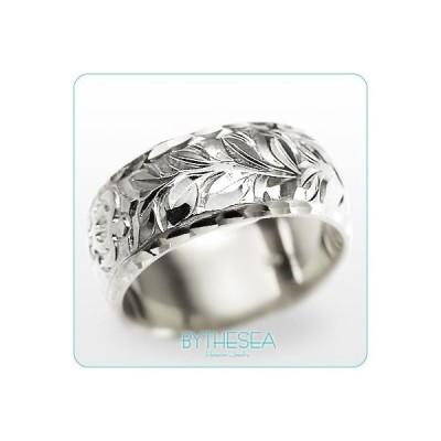 ハワイアンジュエリー 結婚指輪 リング 刻印無料 誕生石 名入れ マリッジリング 14K ホワイトゴールド オーダーメイド WB8B-C /送料無料