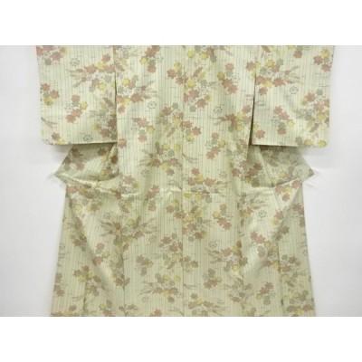 宗sou 竹縞に楓模様織り出し西陣お召着物【リサイクル】【着】