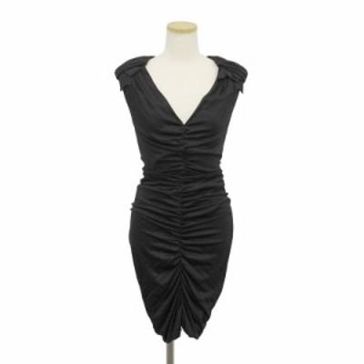 (美品)モスキーノ シャーリング フィット ワンピース ドレス 38 ブラック