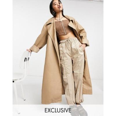 コリュージョン レディース コート アウター COLLUSION longline PU coat in ecru Beige