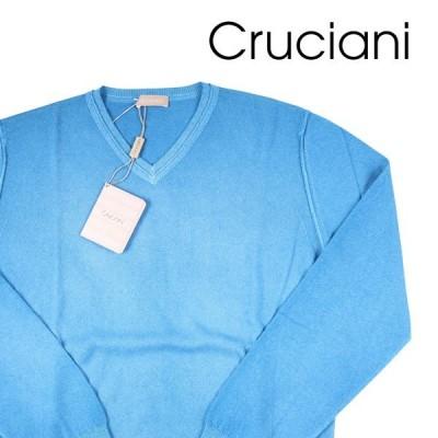 【52】 CRUCIANI クルチアーニ Vネックセーター メンズ 秋冬 カシミヤ100% ブルー 青 並行輸入品 ニット 大きいサイズ
