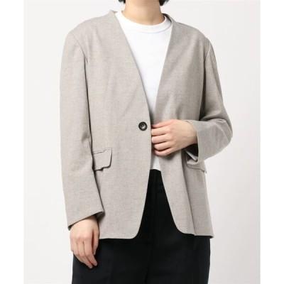 ジャケット ノーカラージャケット 【LE GLAZIK】ウールミックスツイード ノーカラージャケット WOMEN