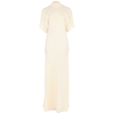 VICTORIA BECKHAM ロングワンピース&ドレス ベージュ 12 シルク 100% ロングワンピース&ドレス