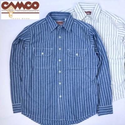 送料無料 CAMCO【カムコ】2 RAILROAD ST. L/S 長袖 レイルロードストライプ シャンブレーシャツ ワークシャツ フラップポケット仕様