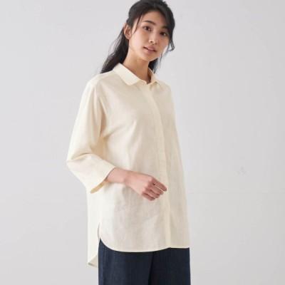 リネンレーヨンチュニックシャツ オフホワイト 4L 5L 6L
