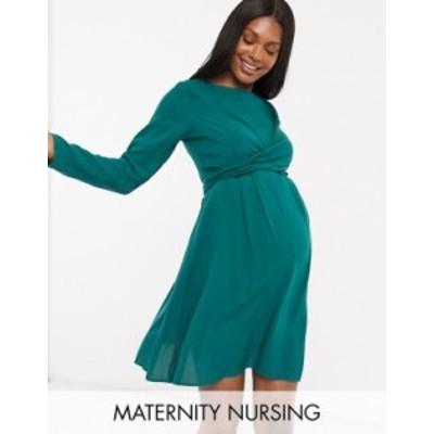 エイソス レディース ワンピース トップス ASOS DESIGN Maternity Nursing mini wrap dress with long sleeves in forest green Forest g