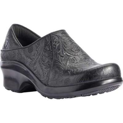 アリアト Ariat レディース クロッグ シューズ・靴 Hera Soft Toe Expert Clog Tooled Black Full Grain Leather