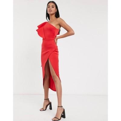 トゥルーバイオレット レディース ワンピース トップス True Violet extreme wrap one shoulder midi dress in red