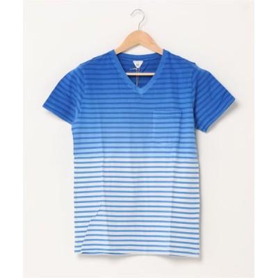 tシャツ Tシャツ 【JOEY FACTORY】ボーダーグラデーション Vネック 半袖ポケットTEE