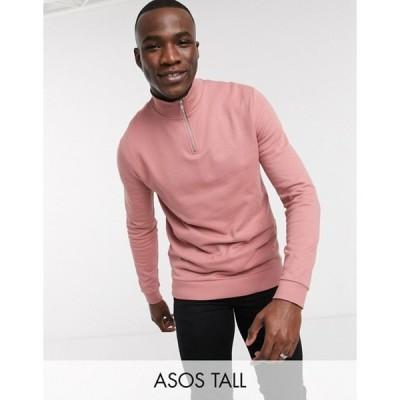 エイソス メンズ シャツ トップス ASOS DESIGN Tall organic half zip sweatshirt in berry