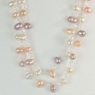 真珠 パール ロング ネックレス 5mm-6mm マルチカラー 淡水真珠 ロング パールネックレス 12807