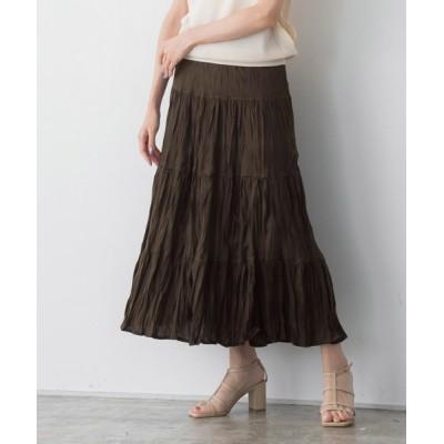 スカート ティアードクリンクルスカート