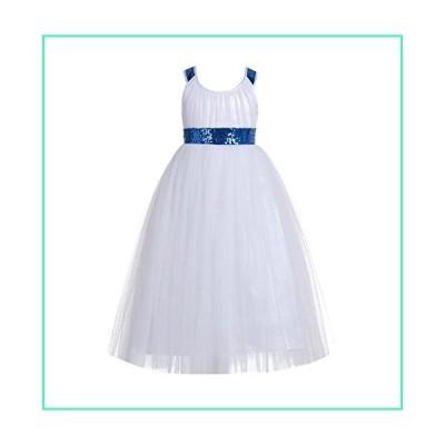 ekidsbridal Sweetheart Neckline Cross Straps A-Line Toddler Flower Girl Dresses 173 8 Royal Blue/White並行輸入品