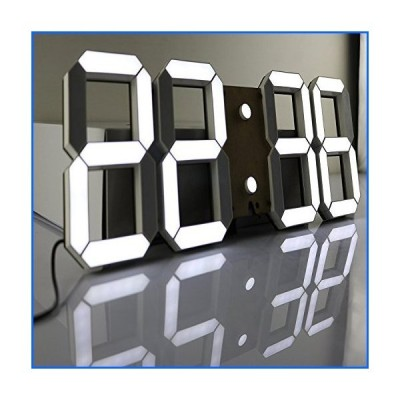 CO-Z Multi-Functional Remote Control Large 17.3 X 6.3 X 0.6 Inches LED Digital Wall Clock with Countdown Timer Temperature Date (Black Shell