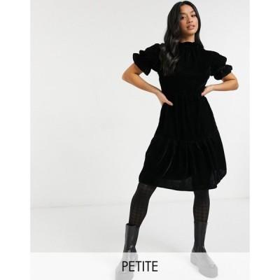ヴァイオレット ロマンス Violet Romance Petite レディース ワンピース Aライン ワンピース・ドレス tiered velvet mini dress ブラック