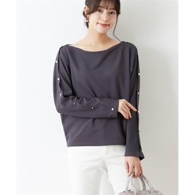 洗濯機で洗える♪ 袖ボタンボートネックカットソープルオーバー (Tシャツ・カットソー)(レディース)T-shirts, テレワーク, 在宅, リモート