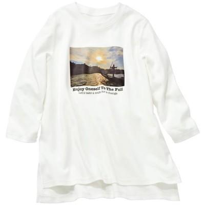 【ぽっちゃりさんサイズ】フォトプリント7分袖Tシャツ(綿100%)/オフホワイト/L
