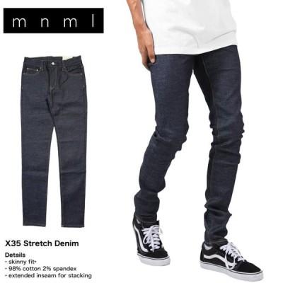 mnml ミニマル デニム スキニーパンツ スキニージーンズ クラッシュデニム ストレッチ ダメージ加工 メンズ ブランド 大きいサイズ X35 STRECH DENIM BLUE