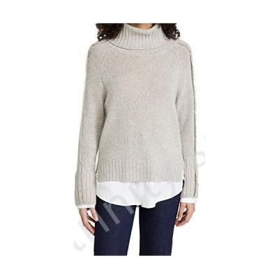 Brochu Walker Women's Jolie Fringe Layered Looker Sweater, Light Chia Melange/White, Medium並行輸入品