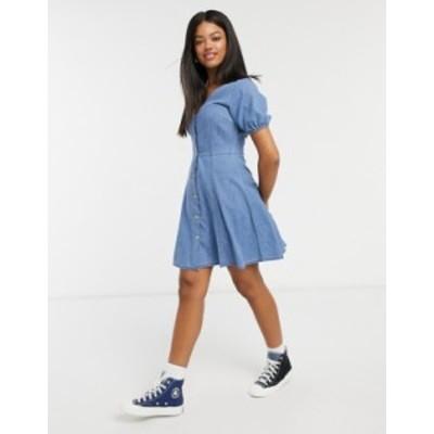 エイソス レディース ワンピース トップス ASOS DESIGN soft denim tea dress in midwash blue Midwash blue