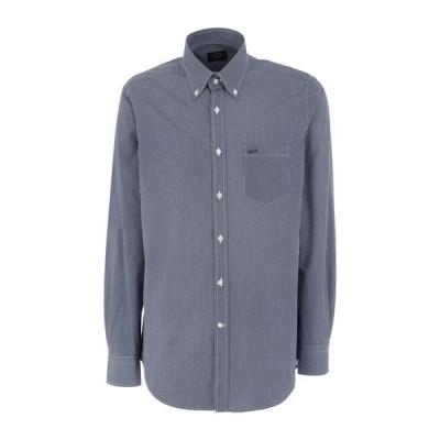 PAUL & SHARK 柄入りシャツ  メンズファッション  トップス  シャツ、カジュアルシャツ  長袖 ダークブルー