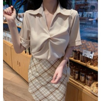 韓国 ファッション レディース シャツ ブラウス スキッパー トップス ツイスト Vネック 半袖 無地 きれいめ 上品 通勤 オフィス シンプル
