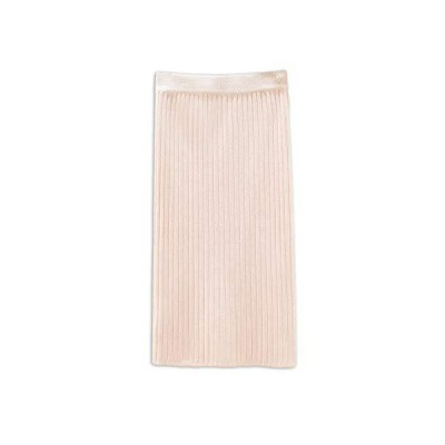 [ミケディ] ニットスカート 柔らか生地 スリット ハイウエスト ゴムウエスト シンプル きれいめ レディース アイボリー 丈60cm