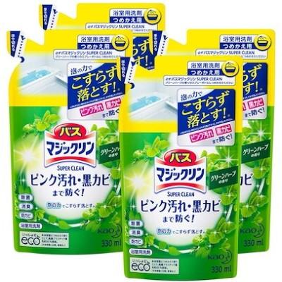 まとめ買いバスマジックリン 泡立ちスプレー SUPERCLEAN グリーンハーブの香り つめかえ用