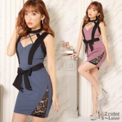 キャバ ドレス クロス デザイン ホルター リボン タイト ミニ ドレス | ドレス キャバ キャバドレス 大きいサイズ ドレス ワンピース ミ