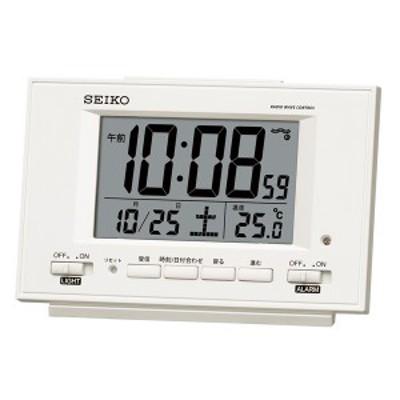 SEIKO セイコー 目覚まし時計 自動点灯 電波 デジタル カレンダー 温度表示 夜でも見える 白パール SQ778W【お取り寄せ】