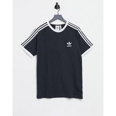 アディダス メンズ シャツ トップス adidas Originals adicolor t-shirt in black with 3-stripes