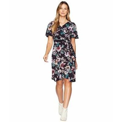 ドンナ モルガン レディース ドレス Floral Jersey Wrap Dress with Flutter Sleeve
