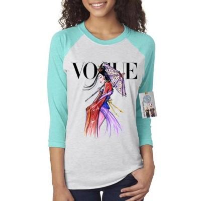 レディース 衣類 トップス Vogue Princess Mulan Womens 3/4 Raglan Sleeve Tシャツ