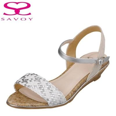 サボイ SAVOY SA94269 レディース | サンダル | 編み込み | クッション性 楽 | メッシュ クリア素材 | ホワイトコンビ