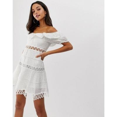 フォーエバーユニーク Forever Unique レディース ワンピース ミニ丈 ワンピース・ドレス embroidered off shoulder mini dress ホワイト