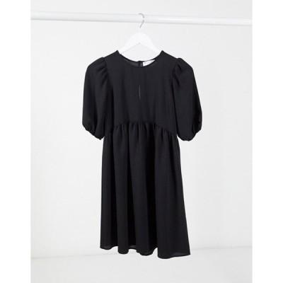 エイソス レディース ワンピース トップス ASOS DESIGN short sleeve smock mini dress in black