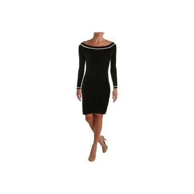 ゲス ドレス ワンピース Guess 5989 レディース B/W 3/4 スリーブs Knee Length ストライプ Cocktail ドレス L BHFO
