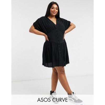 エイソス ドレス 大きいサイズ レディース ASOS DESIGN Curve crinkle button through mini tea dress エイソス ASOS ブラック 黒
